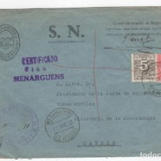 Sellos: 1931 SOBRE AZUL DIRIGIDO A MADRID DESDE AYTO. DE MENARGUENS (LERIDA). Lote 125258287