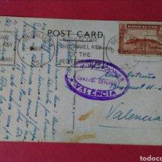 Sellos: ANTIGUA POSTAL DE GIBRALTAR CON RARO MATASELLOS OFICIAL DE COMUNICACIONES. VALENCIA. 15/3/1937.. Lote 126799883