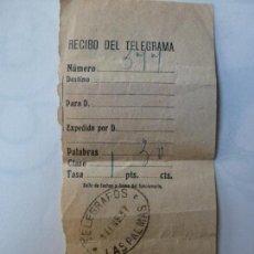 Sellos: RECIBO DE TELEGRAMA. AÑO 1937. DE LAS PALMAS. GUERRA CIVIL.. Lote 127204891