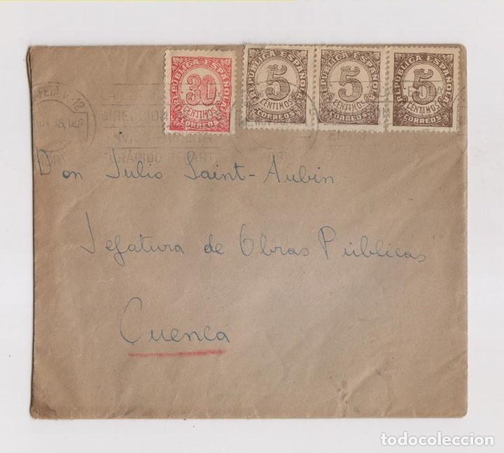 SOBRE CONSERVANDO LA CARTA DE MADRID A CUENCA. RARO FRANQUEO. 1938 (Sellos - España - II República de 1.931 a 1.939 - Cartas)