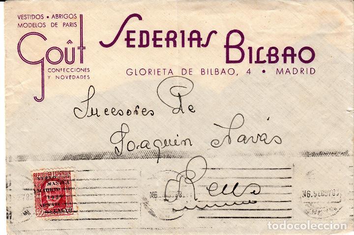 SOBRE COMERCIAL DE SEDERIAS BILBAO EN MADRID - SELLO NUM. 741 (Sellos - España - II República de 1.931 a 1.939 - Cartas)