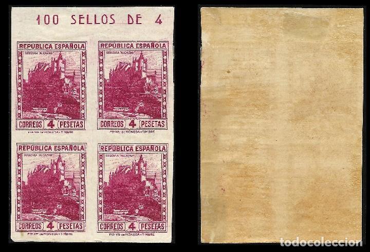 Sellos: España. II República 1932 Personajes y monumentos. 4p. Bloque de 4. Sin Dentar. Nuevo** Edif. nº 674 - Foto 2 - 128591807