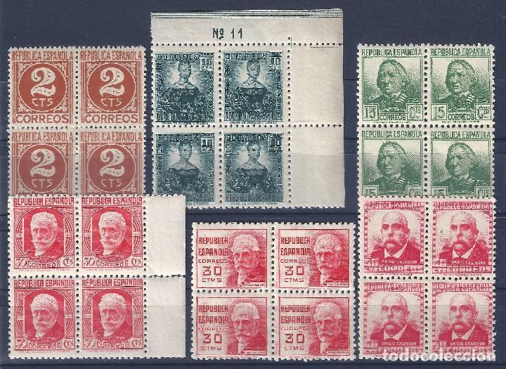 EDIFIL 731-740 CIFRA Y PERSONAJES 1936-1938 (BLOQUES DE 4). VALOR CATÁLOGO: 168 €. LUJO. MNH ** (Sellos - España - II República de 1.931 a 1.939 - Nuevos)