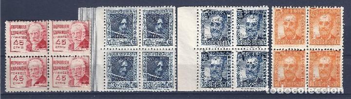 Sellos: EDIFIL 731-740 CIFRA Y PERSONAJES 1936-1938 (BLOQUES DE 4). VALOR CATÁLOGO: 168 €. LUJO. MNH ** - Foto 2 - 128733651