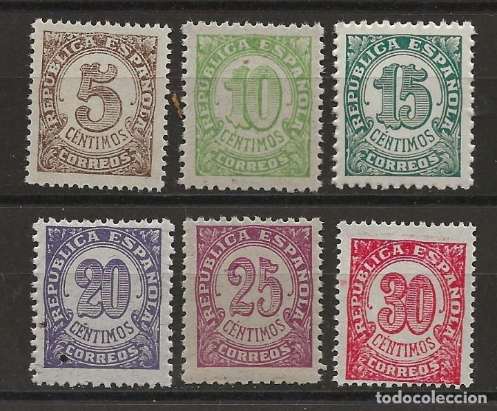 R43.G13/ ESPAÑA NUEVOS ** MNH, EDF. 745/50, 1938, CIFRAS (Sellos - España - II República de 1.931 a 1.939 - Nuevos)