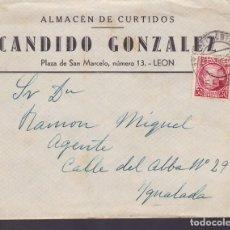 Sellos: CM1-9-CARTA CURTIDOS LEÓN 1936 MATASELLOS ESTAFETA ESTACIÓN. Lote 130202819