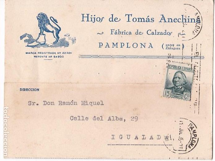 F4-20- TARJETA POSTAL PUBLICIDAD FÁBRICA CALZADOS PAMPLONA 1935 (Sellos - España - II República de 1.931 a 1.939 - Cartas)