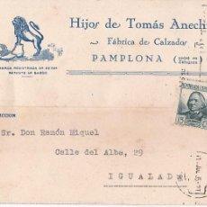 Sellos: CM1-18- TARJETA FÁBRICA CALZADOS PAMPLONA 1935. Lote 130208195