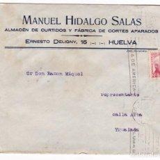 Sellos: CM1-23-CARTA CURTIDOS HUELVA 193?- DORSO PUBLICIDAD GRAN SEMANA COLOMBINA . Lote 130217547