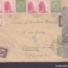 Sellos: CM2-8-CARTA CORREO AÉREO VALENCIA-FRANCIA 1938. CENSURA. Lote 130292806