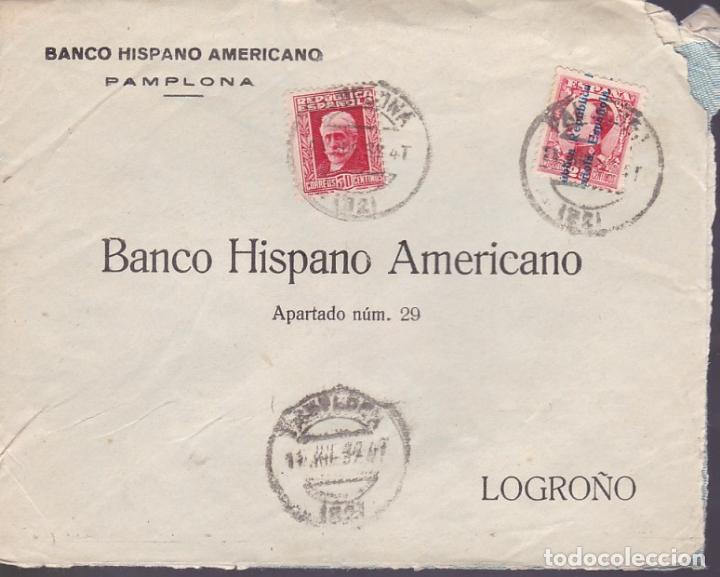HP9-19-CARTA PAMPLONA 1932. RODILLO DORSO LOGROÑO NO PROBÓ LOS PRODUCTOS RIOJANOS? LASTIMA¡¡¡ (Sellos - España - II República de 1.931 a 1.939 - Cartas)