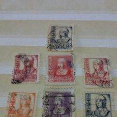 Sellos: 7 SELLOS ESPAÑA 1937 - 1938 ISABEL LA CATÓLICA. Lote 130390606
