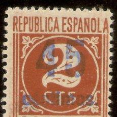 Sellos: EDIFIL 744**MNH 2CTOS CASTAÑO SOBRECARGA 45 CÉNTIMOS AZUL CIFRAS 1938 NL813. Lote 131093548