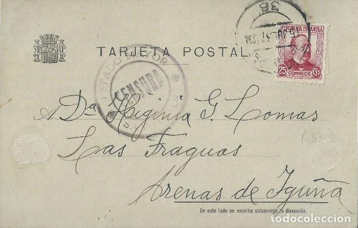 TARJETA DE 1939 DE SANTANDER A ARENAS DE IGUÑA, CON MARCA ESTADO MAYOR/CENSURA/SANTANDER. (Sellos - España - II República de 1.931 a 1.939 - Cartas)