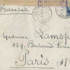 Sellos: SOBRE DE 1936 DE LA GARGANTA (CIUDAD REAL) A PARÍS, CON CENSURA.. Lote 132206978