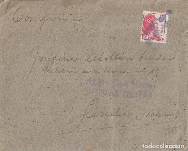 CARTA DE 1939 DEL FRENTE A GANDÍA, CON MARCA 81 BRIGADA MIXTA/CENSURA MILITAR. (Sellos - España - II República de 1.931 a 1.939 - Cartas)
