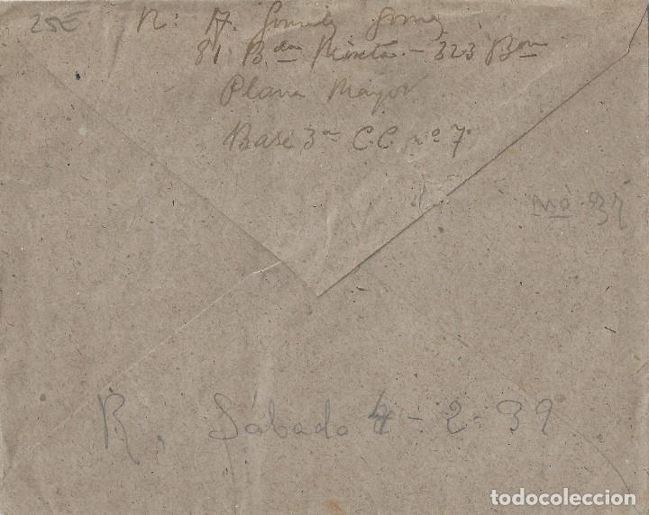 Sellos: Carta de 1939 del FRENTE a GANDÍA, con Marca 81 Brigada Mixta/Censura Militar. - Foto 2 - 132207334