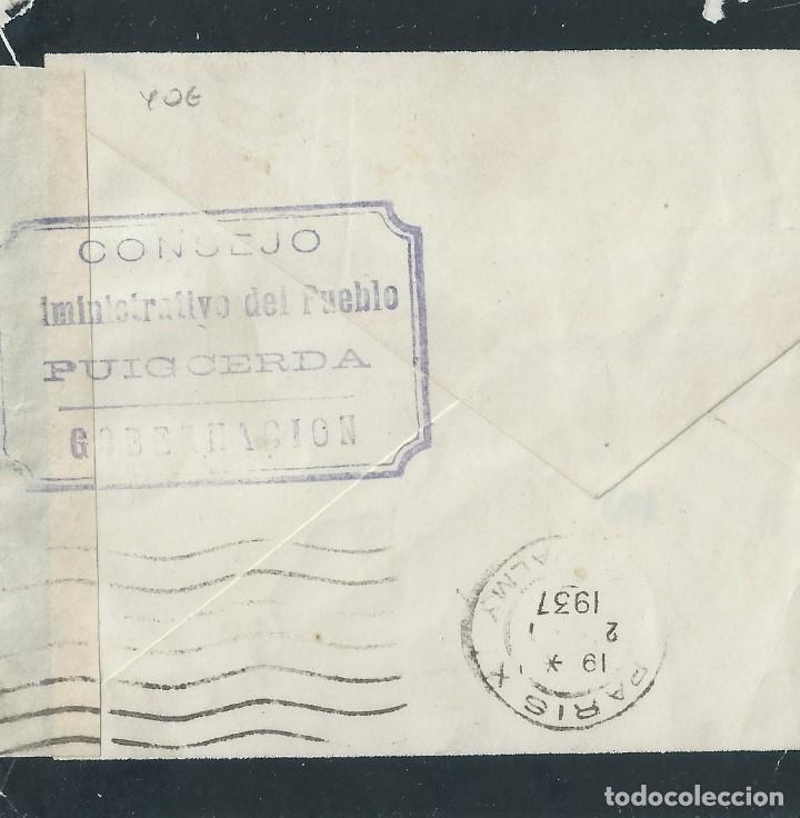 SOBRE INCOMPLETO DE 1937 DE PUIGCERDA A PARIS CON MARCA:CONSEJO ADMINISTRATIVO DE PUEBLO AL DORSO. (Sellos - España - II República de 1.931 a 1.939 - Cartas)