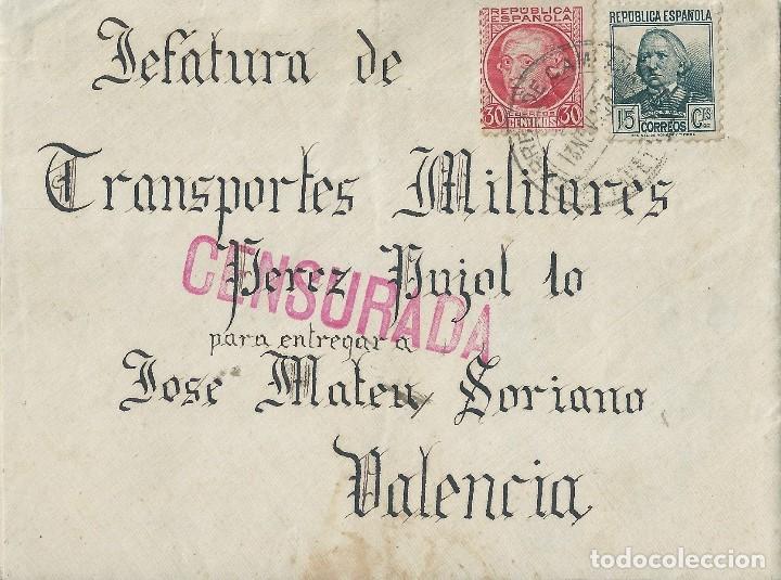CARTA DE 1937 DEL FRENTE EN POLAN (TOLEDO) A VALENCIA CON MATASELLOS CORREO DE CAMPAÑA. (Sellos - España - II República de 1.931 a 1.939 - Cartas)