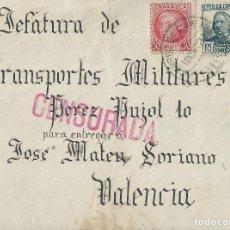 Sellos: CARTA DE 1937 DEL FRENTE EN POLAN (TOLEDO) A VALENCIA CON MATASELLOS CORREO DE CAMPAÑA.. Lote 132225150