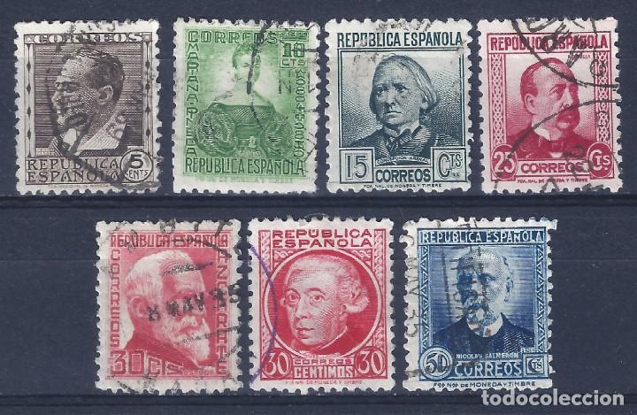EDIFIL 681-688 PERSONAJES 1933-1935 (SERIE COMPLETA) (VARIEDADES....686T Y 688IP). (Sellos - España - II República de 1.931 a 1.939 - Usados)