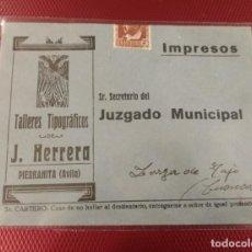 Sellos: SOBRE CON PUBLICIDAD TALLERES TIPOGRÁFICOS J. HERRERO. JUZGADO MUNICIPAL. NO CONSERVA LA CARTA.. Lote 132711178
