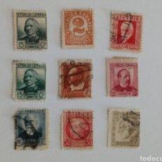 Sellos: LOTE DE 9 SELLOS DE LA SEGUNDA REPÚBLICA. Lote 132735042