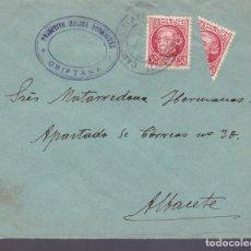 Sellos: CM3-46- CARTA CAMPO CRIPTANA CIUDAD REAL- ALBACETE . 1935?. SELLO BISECTADO. Lote 133973558