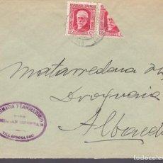Sellos: CM3-48- CARTA VILLARROBLEDO (ALBACETE) 1937- P IGLESIAS BISECTADO. Lote 133974398
