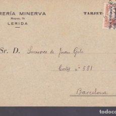 Sellos: CM3-51- TARJETA PEDIDO LIBRERÍA MINERVA LERIDA 1932. Lote 133983562