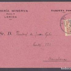 Sellos: CM3-51- TARJETA PEDIDO LIBRERÍA MINERVA LÉRIDA 1932. Lote 133983718