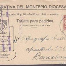 Sellos: CM3-57- TARJETA PEDIDO LIBRERÍA DEL MONTEPÍO DIOCESANO VITORIA 1932. Lote 133984226