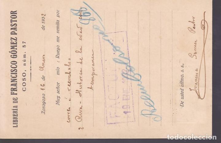 Sellos: CM3-59- Tarjeta Postal Pedido Librería Francisco Gomez Pastor ZARAGOZA 1932 - Foto 2 - 133984390
