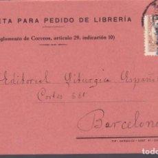 Sellos: CM3-60- TARJETA POSTAL PEDIDO LIBRERÍA F. GOMEZ PASTOR ZARAGOZA 1932. Lote 133984462