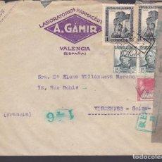 Sellos: CM3-76- REPÚBLICA CARTA LABORATORIOS GÁMIR VALENCIA - FRANCIA 1938. CENSURA . Lote 134024418