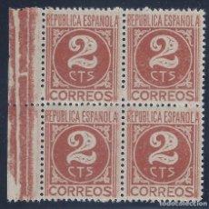 Sellos: EDIFIL 731 CIFRA Y PERSONAJES 1936-1938 (BLOQUE DE 4). MNH **. Lote 134063686