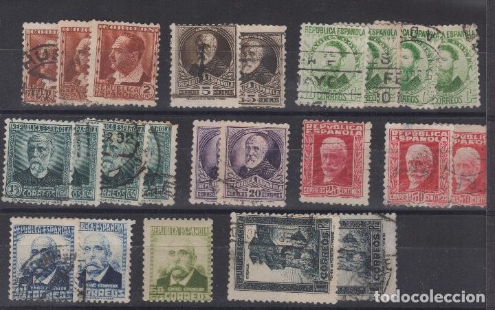 1932 REPUBLICA ESPAÑOLA VARIOS VALORES (Sellos - España - II República de 1.931 a 1.939 - Usados)