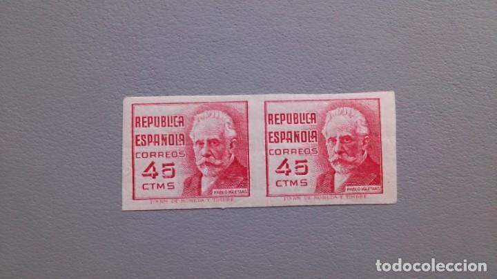 ESPAÑA - 1936/37 - II REPUBLICA - EDIFIL 737 S - SIN DENTAR - PAREJA - MH* - NUEVOS - VALOR CAT. 75€ (Sellos - España - II República de 1.931 a 1.939 - Nuevos)
