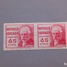 Sellos: ESPAÑA - 1936/37 - II REPUBLICA - EDIFIL 737 S - SIN DENTAR - PAREJA - MH* - NUEVOS - VALOR CAT. 75€. Lote 139480086