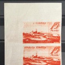 Sellos: 1938-ESPAÑA CORREO SUBMARINO SIN DENTAR ** 780CCCS ESQUINA DE PLIEGO BLOQUE DE 3 - DOBLE IMPRESIÓN -. Lote 140043398