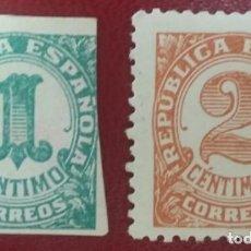 Sellos: REPÚBLICA ESPAÑOLA. CIFRAS, 1933. 2 VALORES (Nº 677-678 EDIFIL).. Lote 140065854