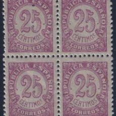 Sellos: EDIFIL 749 CIFRAS 1938 (BLOQUE DE 4). MNH **. Lote 178443745