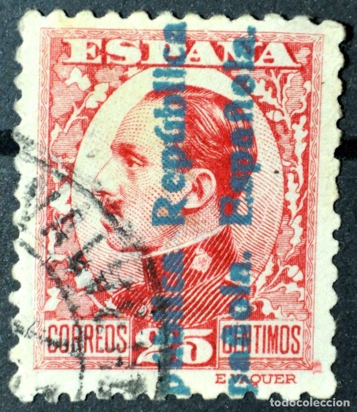 RARO ALFONSO XIII 25C. CON DOBLE HABILITADO -REPÚBLICA ESPAÑOLA- EN ANVERSO Y REVERSO. BUEN CENTRADO (Sellos - España - II República de 1.931 a 1.939 - Usados)
