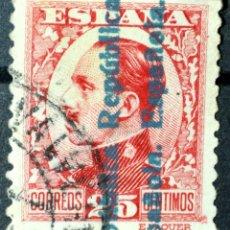 Sellos: RARO ALFONSO XIII 25C. CON DOBLE HABILITADO -REPÚBLICA ESPAÑOLA- EN ANVERSO Y REVERSO. BUEN CENTRADO. Lote 142494462