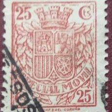 Sellos: SELLOS FISCALES POSTALES, 1938. 25 CTS. ROJO (Nº 91 EDIFIL).. Lote 143127786