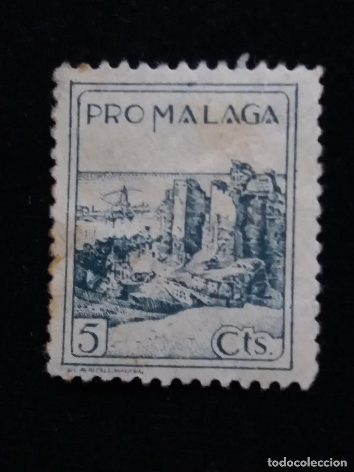 SELLO PRO MALAGA 5 CTS. (Sellos - España - II República de 1.931 a 1.939 - Nuevos)