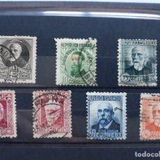 Sellos: SERIE COMPLETA ESPAÑA 1931. PERSONAJES. CON Nº CONTROL. EDIFIL 655 A 661 USADOS. Lote 143756954