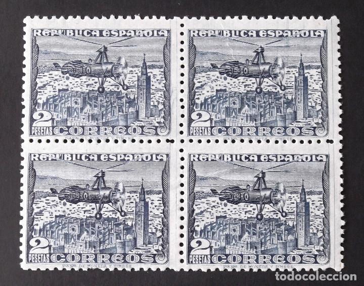 769P, BLOQUE DE 4, NUEVO, SIN CH. PAPEL AZULADO. AUTOGIRO LA CIERVA (1938). (Sellos - España - II República de 1.931 a 1.939 - Nuevos)