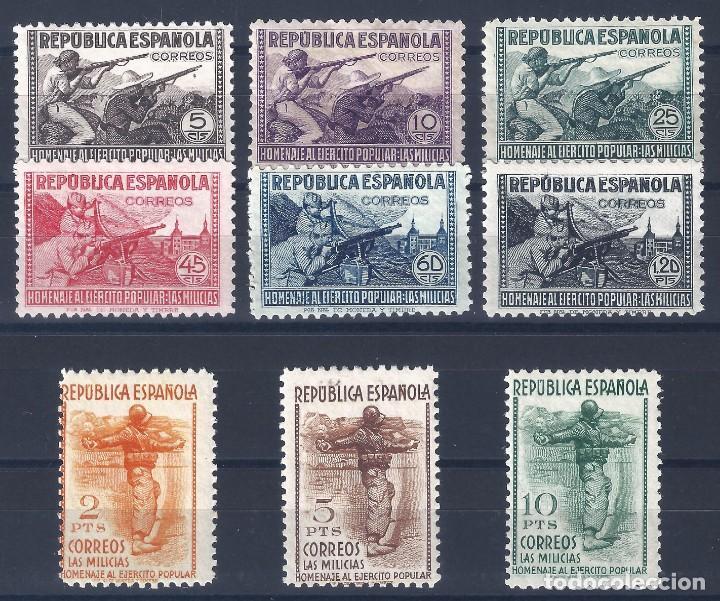 EDIFIL 792-800 HOMENAJE AL EJÉRCITO POPULAR 1938 (SERIE COMPLETA). CERTIFICADO C.M.F. LUJO. MNH ** (Sellos - España - II República de 1.931 a 1.939 - Nuevos)