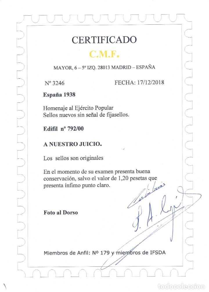 Sellos: EDIFIL 792-800 HOMENAJE AL EJÉRCITO POPULAR 1938 (SERIE COMPLETA). CERTIFICADO C.M.F. LUJO. MNH ** - Foto 3 - 144222234